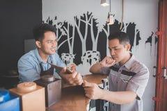 Male customer ordering coffee. Portrait of male customer ordering coffee at the cafe Stock Photography