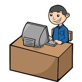Male customer service. Illustration of a male customer who was working at the front computer Royalty Free Stock Images