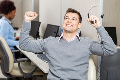 Male Customer Service Representative With Arms Royalty Free Stock Images