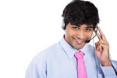 Male customer service representative or call centre worker or operator or support staff Stock Image
