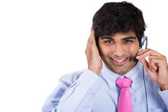 Male customer service representative or call centre worker or operator or support staff Stock Photos