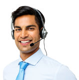 Male Customer Service Representative Wearing Headset. Portrait of happy male customer service representative wearing headset against white background. Horizontal Stock Image