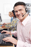 Male Customer Services Agent In Call Centre Royalty Free Stock Images