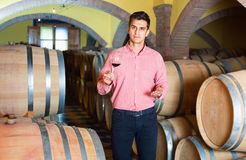 Male customer tasting red wine from wooden barrels. Glad cheerful  male customer tasting red wine from wooden barrels in factory Royalty Free Stock Image