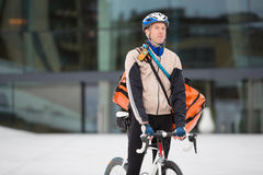 Male Cyclist With Courier Delivery Bag Stock Photos