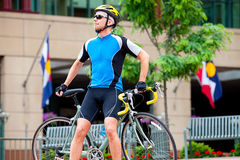 Male cyclist downtown Royalty Free Stock Photos