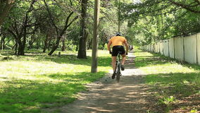 Male cyclist in the park stock footage