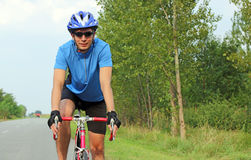 Male cyclist on a race bike Stock Image