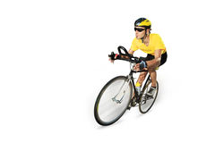 Male cyclist riding a bike. Isolated on white background Royalty Free Stock Image