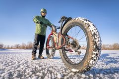 Riding fat bike in winter Stock Image