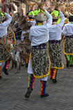 Male dancer group in Pujili Ecuador. June 17, 2017 Pujili, Ecuador: male dancer group in traditional clothing at the Corpus Christi annual parade royalty free stock photo