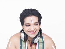 Male dancer with headphones Stock Image