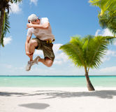 Male dancer jumping in the air. Dance, summer and holidays concept - male dancer jumping in the air Stock Photos