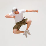 Male dancer jumping in the air. Picture of male dancer jumping in the air Royalty Free Stock Photography