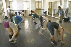 Male dancers stretching and exercising at Pro Danza Ballet dance studio and school , Cuba Royalty Free Stock Image