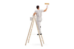 Male decorator painting with a roller. Young male decorator painting with a paint roller climbed up a ladder isolated on white background Stock Images