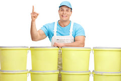 Male decorator pointing up with his finger Stock Image