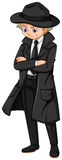 Male detective in black overcoat. Illustration Stock Photos
