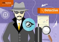 Male detective in hat, coat  and sunglasses Stock Photography