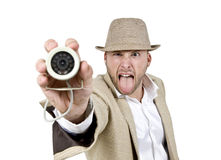 Male detective with web camera Stock Image