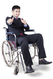 Male disabled worker showing thumbs up Royalty Free Stock Image