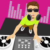 Male disc jockey mixing music using his turntables Stock Images