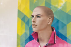 Male display dummy. Portrait of a male dummy in window display Stock Photography
