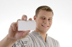 Male displaying business card Stock Photos