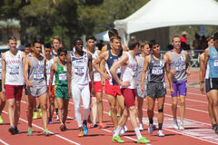 Male distance runners prepare race Stock Image