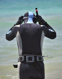 Male diver with harpoon Stock Photography