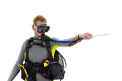 Male diver with pointer Royalty Free Stock Photo