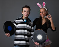 Male DJ and beautiful girl Stock Photography