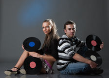 Male DJ and beautiful girl Royalty Free Stock Images