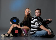 Male DJ and beautiful girl Royalty Free Stock Photo
