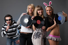 Male DJ and beautiful girls Stock Images