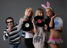 Male DJ and beautiful girls Royalty Free Stock Photo