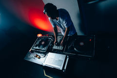 Male dj in club Royalty Free Stock Photo