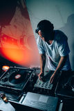 Male dj in club Stock Photography