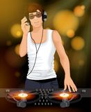 Male DJ with headphones Royalty Free Stock Images