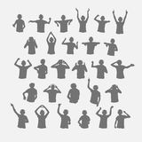Male dj silhouettes wearing headphones. Royalty Free Stock Images