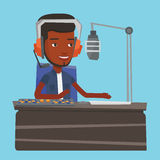 Male dj working on the radio vector illustration Royalty Free Stock Photos