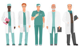 Male Doctor. African American and Caucasian doctor set. Vector illustration. Stock Image