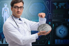 The male doctor with the brain in medical concept Royalty Free Stock Photo