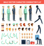 Male Doctor Character Constructor Flat vector illustration