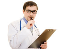Male doctor with the document table Stock Photography