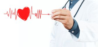 Free Male Doctor Drawing Heart Symbol And Chart Heartbeat Stock Images - 100980394