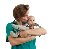 Male doctor exam baby boy Royalty Free Stock Photography