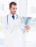 Male doctor examining xray in medical office Royalty Free Stock Images