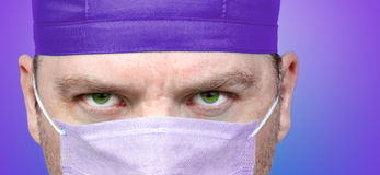 Male doctor face close up stock image