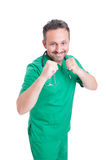 Male doctor in fighting position Stock Images